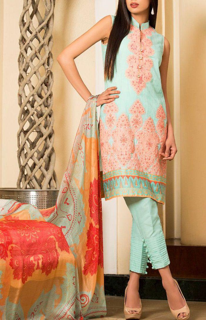 Buy Mint Embroidered Cotton Lawn Salwar Kameez by Zainab Chottani Lawn 2015.
