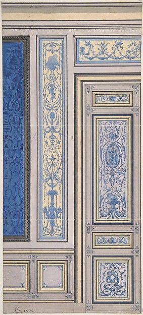 Design for Wall, Hôtel de Beaujon, Paris, Eugène-Pierre Gourdet (French, born Paris, 1820) 1872.
