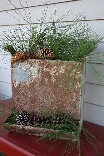 old galvanized feeder re-purposed into container for greenery: Decor Ideas, Christmas Farmhouse, Decorating Ideas, Primitive Christmas, Holidays Ideas Lik, Primitives Christmas, Christmas Decor, Christmas Porches, Rustic Christmas