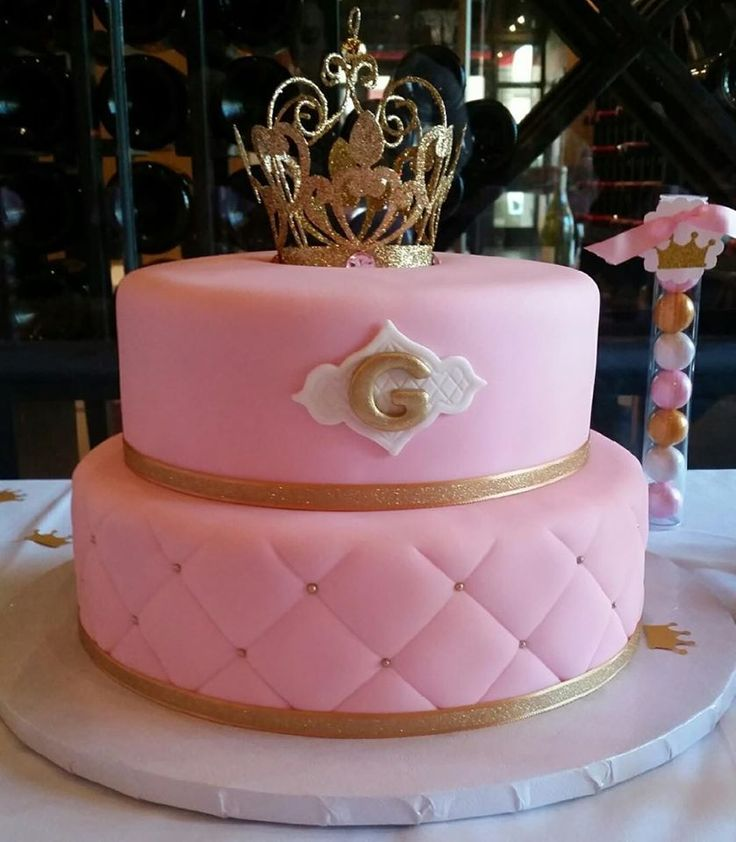 Princess Baby Shower Cake, Pink And Gold #babyshower #cake #ideas  #inspirations