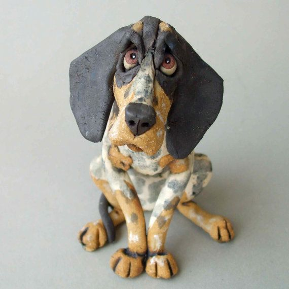 Ceramic Dog Sculpture Bluetick Coonhound by RudkinStudio on Etsy, $68.00