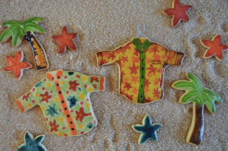 Camice e Palme e Stelle marine colorate con tuorlo d'uovo e coloranti alimentari