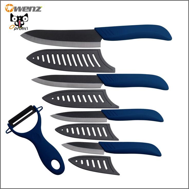 Goods.Site - Owenz ceramic knife set black 6 inch chef 5 inch slicing 4 inch utility 3 inch paring knife kitchen knives + blue ceramic peeler