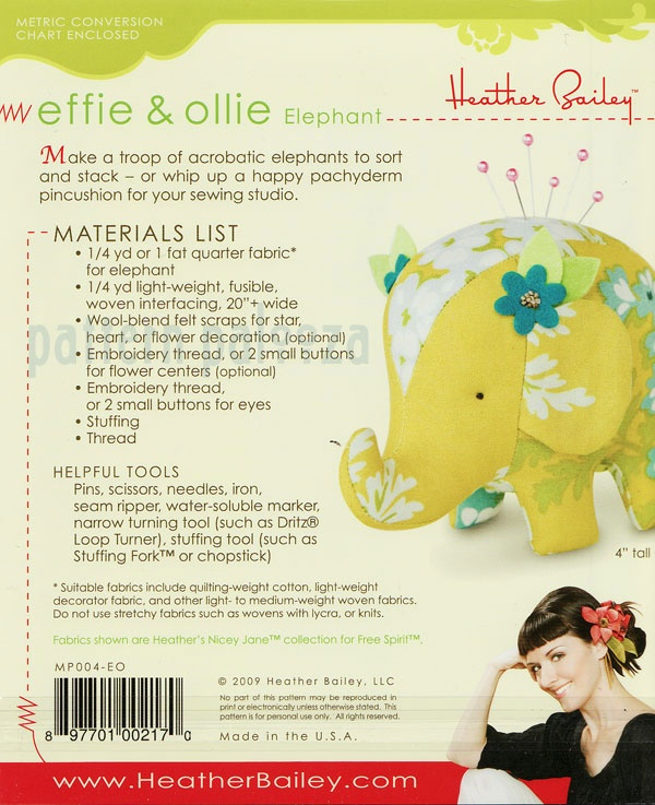 Heather Bailey Effie & Ollie Elephant [1PA-HeatherBailey-004] - $8.95 : Pink Chalk Fabrics is your online source for modern quilting cottons and sewing patterns., Cloth, Pattern + Tool for Modern Sewists