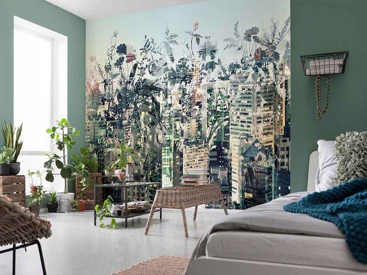 Fototapet Komar Urban Jungle - un design modern ce impleste intr-un mod inedit elemente florale cu peisajul urban.