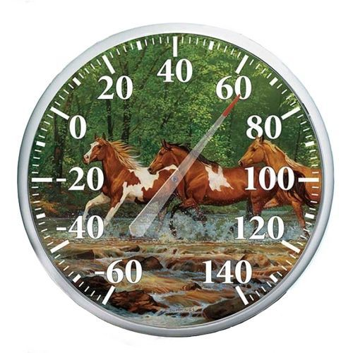 This round horses outdoor all-season thermometer is a weather resistant and great at warming the heart during the fall, winter, spring and summer. Easy to read dial and numbers makes this thermometer