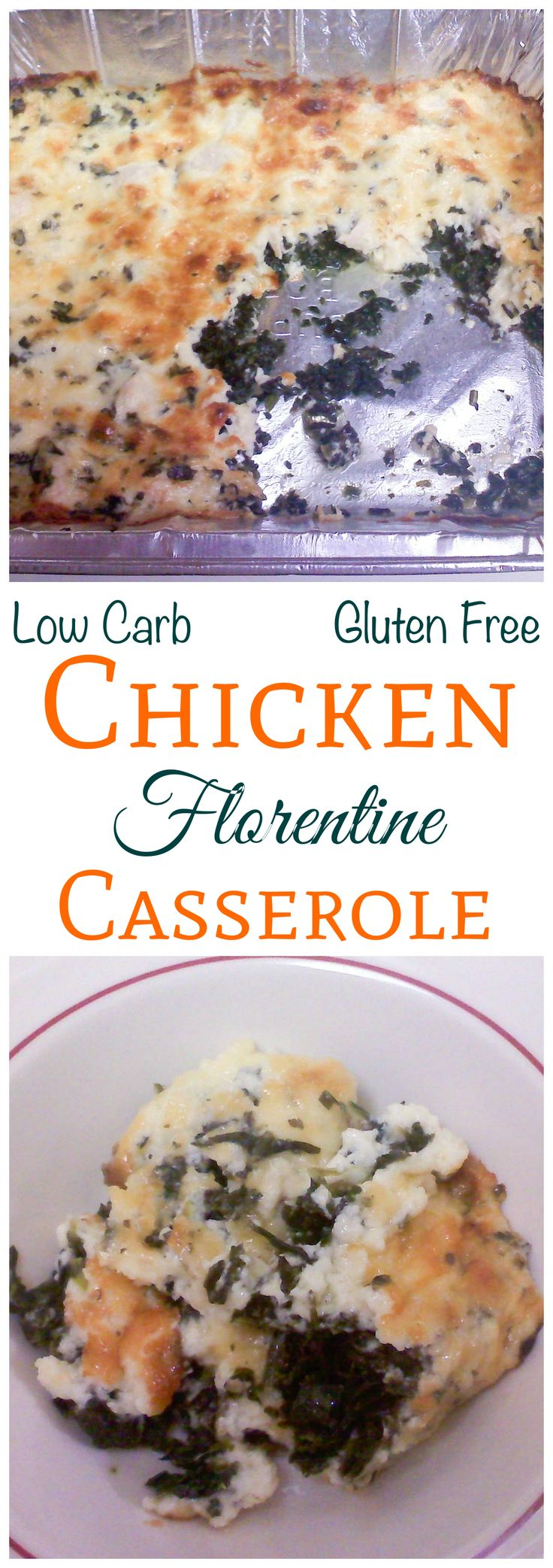 This low carb gluten free chicken florentine casserole is quick and easy to prepare. It's a creamy blend of cut chicken, spinach and Parmesan cheese.
