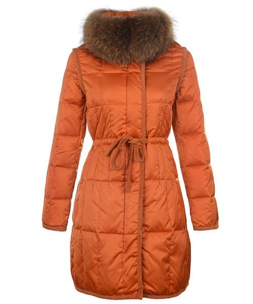 Moncler For Women Coat Euramerican Style Long Orange Sale