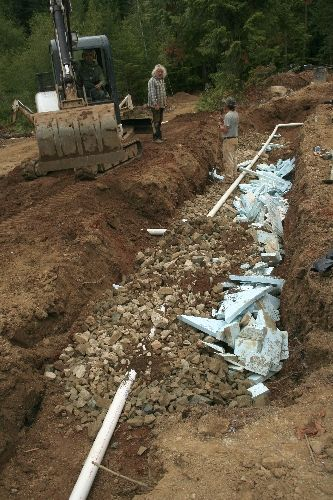 Earthship Septic overflow trench system, image by Monica Holy