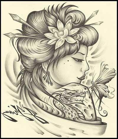 Tatuagens de Gueixas Femininas: Significados, Desenhos, Fotos