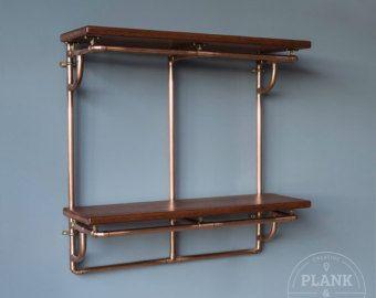 Copper Pipe Bathroom Towel Rack in an Industrial / by PlankandPipe