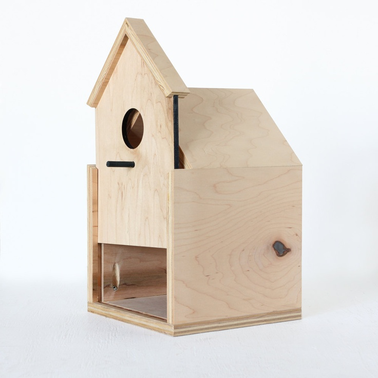 Modern Birdhouse made from maple ply with sliding front door. $60.00, via Oh Dier on Etsy.