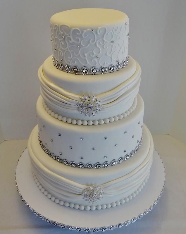 elegant royal blue and white wedding cake ideas, Like the scrolls on top with the silver beads add royal blue orchids