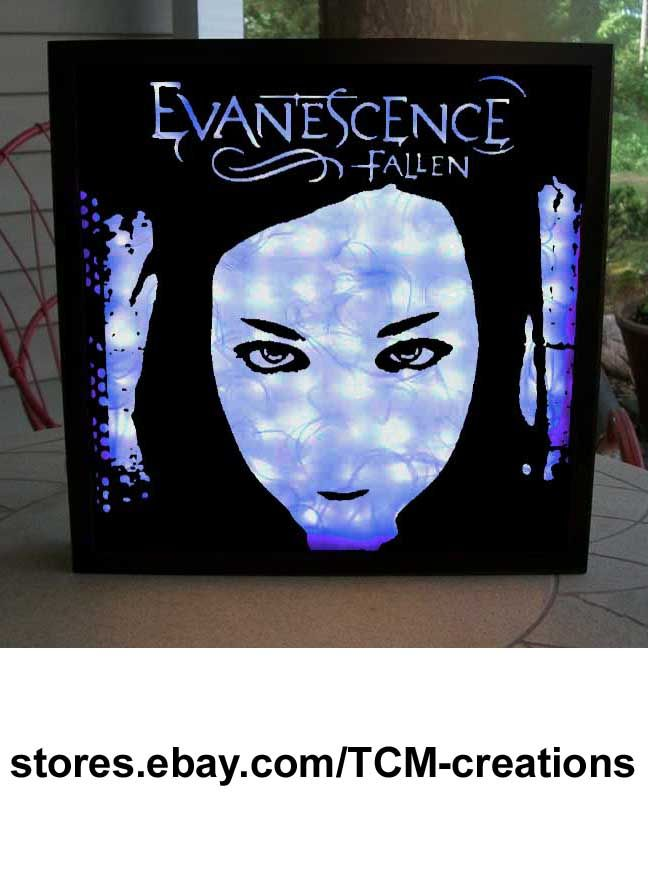 Evanescence shadow box with LED lighting.  Amy Lee, Fallen, The Open Door, Evanescence, Ben Moody