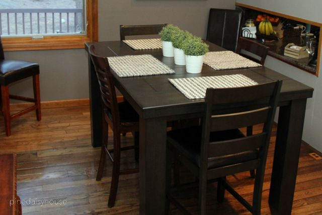 counter height table, pub height table, dining room, contemporary rustic, farmhouse inspired.