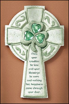 """Irish Blessing Wall Cross with green gems for good luck. Whimsical and fun I Irish cross that has a traditional Irish blessing upon it. The Irish cross reads """"May your troubles be less and your blessi"""