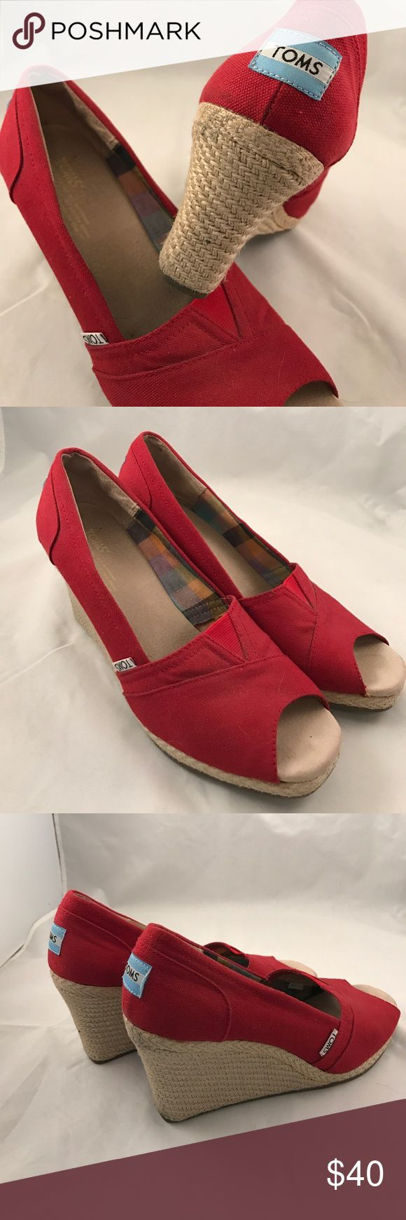Toms Red Wedge Heels Size 9 Toms Wedge Heel Size 9 Red Canvas TOMS Shoes Wedges