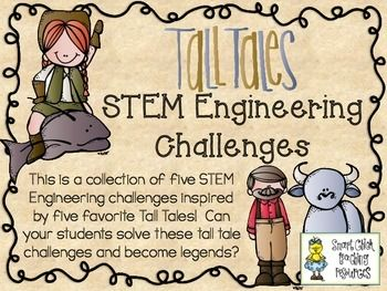 STEM Engineering Challenge Five Pack ~ Tall Tales Set  $  John Chapman Apple Raft Challenge Pecos Bill Plastic Bag Lasso Challenge John Henry's Tube Train Challenge The Big Blue Ox's Wooden Pen Challenge Sluefoot Sue Log Cabin Challenge