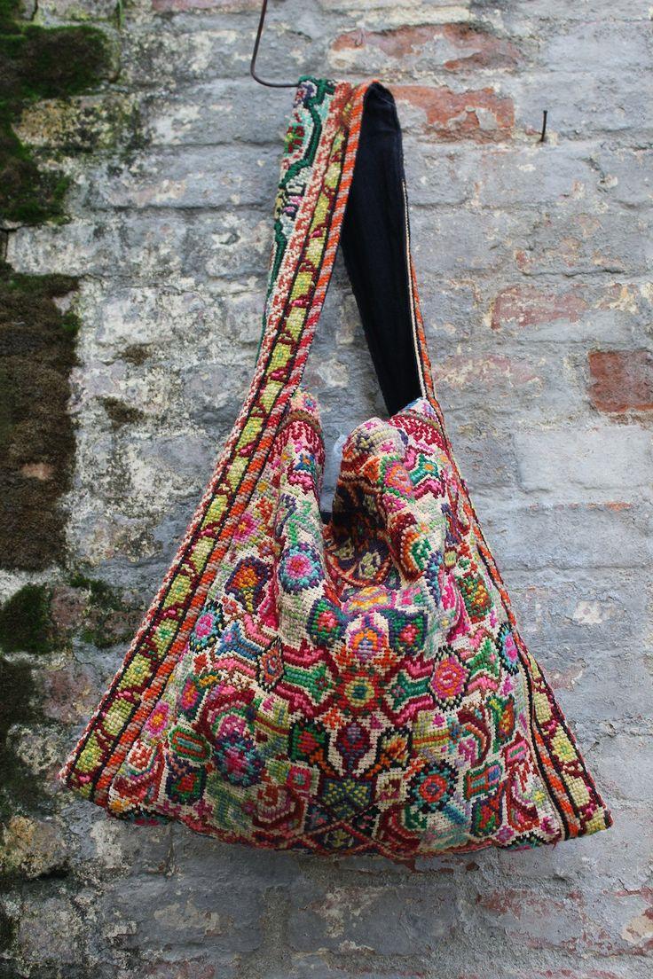 Carpet Bag Vintage Hand Embroidered Textile Bohemian Bag Circa 1960s. $220.00, via Etsy.