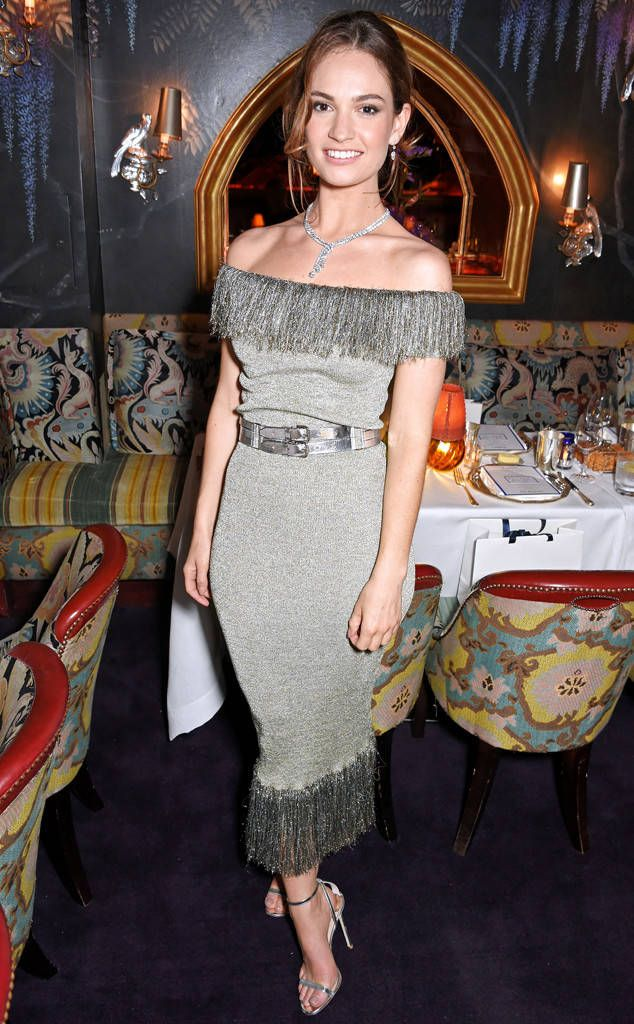 Lovely Lily! The Cinderella actress makes a lasting impression duringa private dinner celebrating the De Beers Grand Opening at Harrods in London.