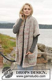 Ravelry: 151-30 Hellebore - Jacket in seed st in Andes and Fabel pattern by DROPS design