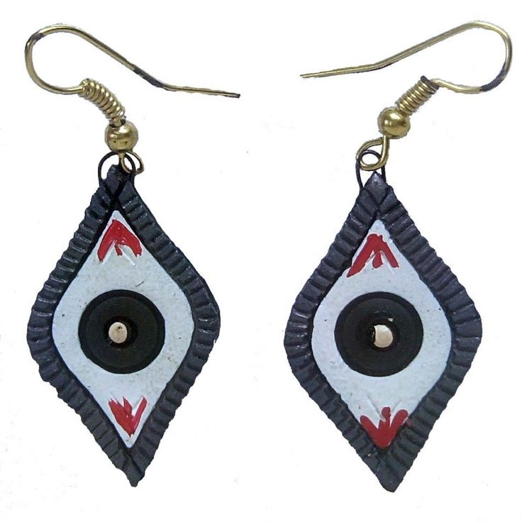Clay Jewelry from Krishnanagar Handicraft Product New Design Stylish - Eye shaped Burnt Clay - Water-proof colour