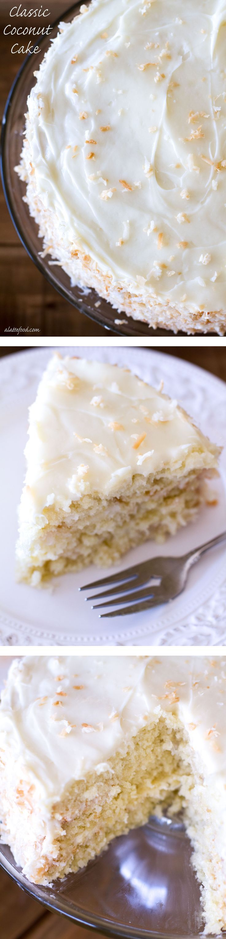 This easy coconut cake recipe is packed with sweet coconut flavor and topped with a sweet and tangy simple cream cheese frosting.