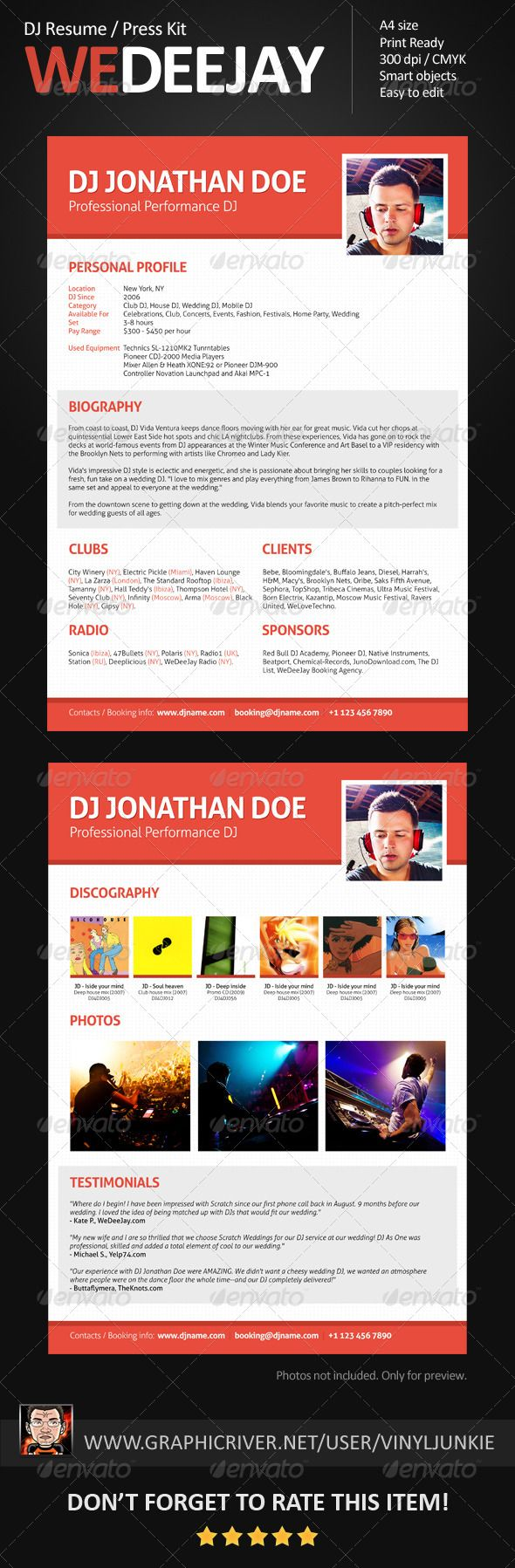 15 best images about DJ Press Kit and DJ Resume Templates on – Press Kit Template