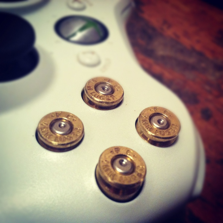 Xbox 360 bullet buttons 9mm rounds handmade handcrafted handgun geekery bullets video games call of duty. $11.98, via Etsy.