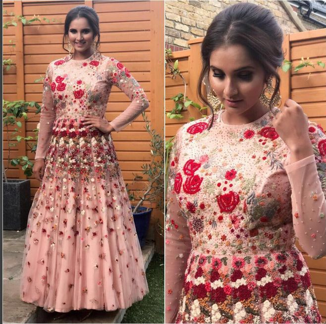 Sania Mirza In A Beautifully Embroidered Dress