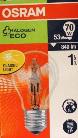 Ekologia nie musi być droga. Zmień żarówki. Żarówki HALOGEN ECO posiadają wszystkie zalety wysokiej jakości żarówek halogenowych firmy OSRAM. Zapewniają brylantowe światło i działają dwa razy dłużej niż tradycyjne żarówki. A dzięki oszczędnościom energii wynoszącym do 30% mają one swój udział w ochronie środowiska – nie wspominając już o wszystkich zaoszczędzonych pieniądzach.