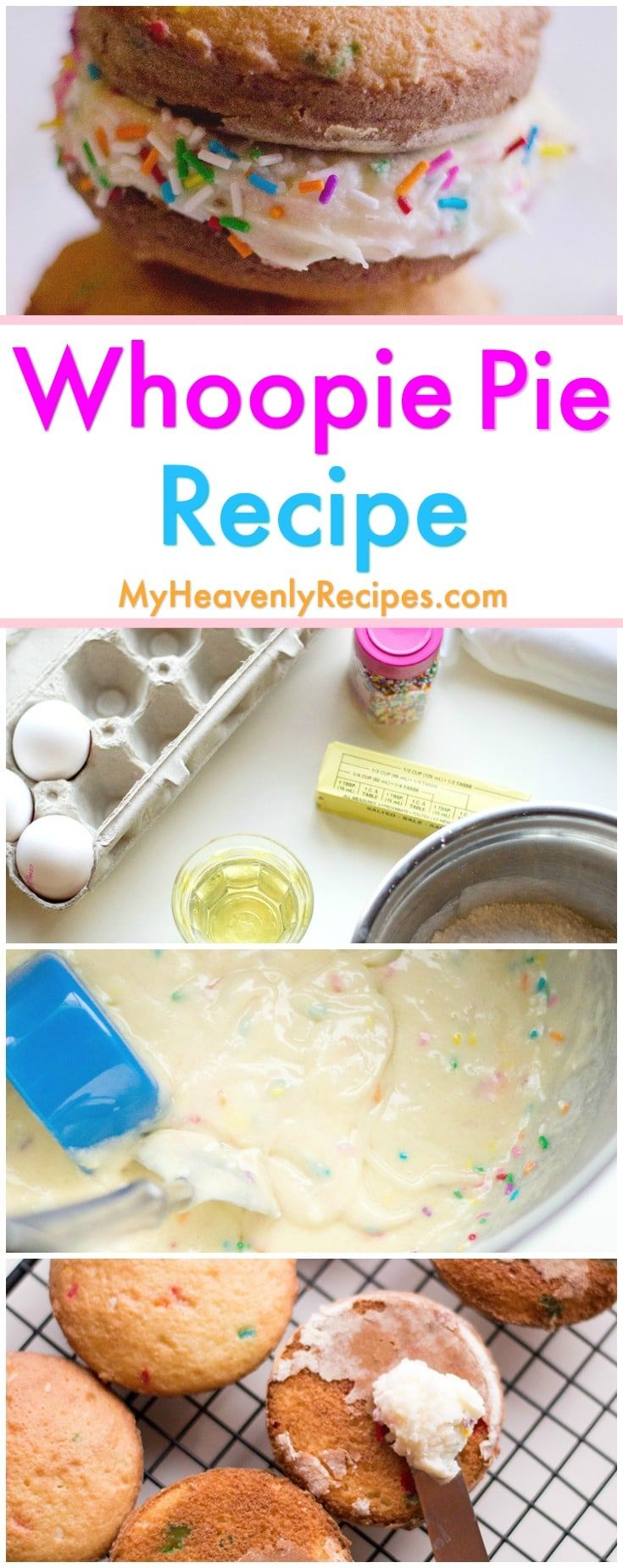 This fun Whoopie Pie recipe is the best Whoopie Pie recipe out there! Easily make Whoopie Pies using box cake mix and a few other simple ingredients. An easy dessert recipe! #whoopiepies #whoopiepie #easydesserts #easydessertrecipes via @heavenlyrecipe