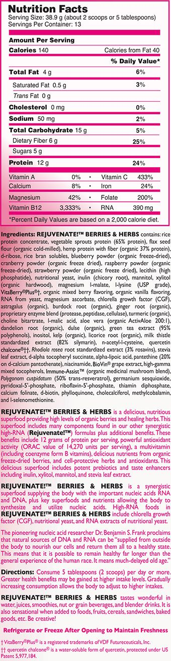 Rejuvenate Berries and Herbs nutritional facts label
