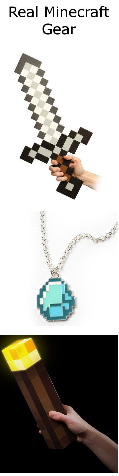 Real Life Minecraft sword, diamond necklace and torch. Pretty clever and funny really.