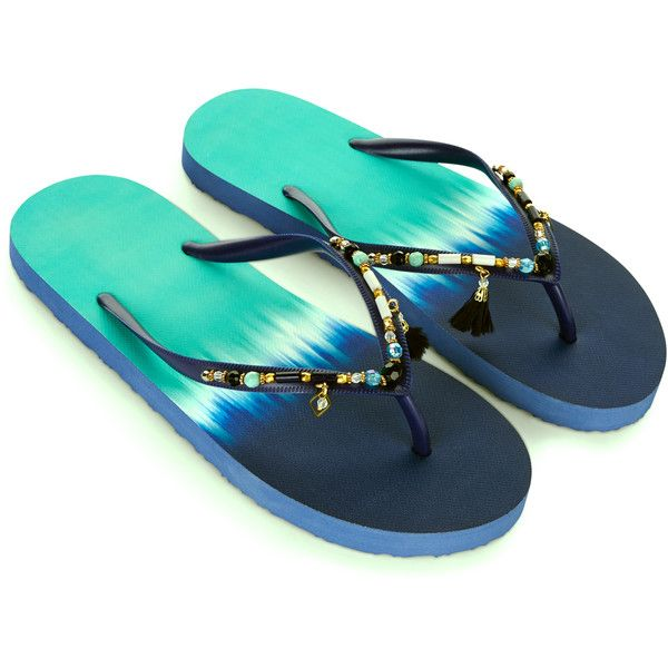 Accessorize Ombre Eclectic Bead Eva Flip Flops (33 NZD) ❤ liked on Polyvore featuring shoes, sandals, flip flops, embellished sandals, turquoise shoes, turquoise beaded sandals, beaded flip flops and dark blue shoes