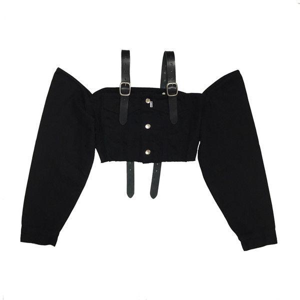 DENIM OFF SHOULDER TOPS (w/LEATHER BELT) -BLACK- ($275) ❤ liked on Polyvore featuring tops, crop top, long sleeved, cut-out crop tops, denim top, long sleeve tops, off shoulder crop top and leather belt