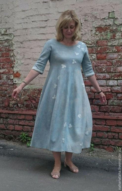 """Купить Платье валяное """"Мята"""" - платье, платье валяное, платье из шерсти, подарок женщине, мятный"""