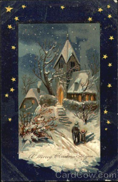Snowy walk to church Christmas