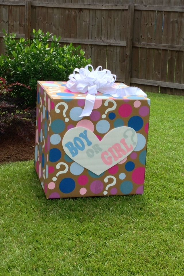 Gender reveal ideas. Gender reveal balloon box.
