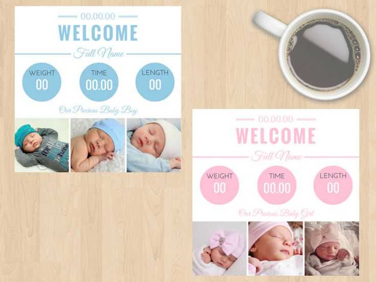 Digital Download Baby Announcement Card, Welcome, Our Precious Baby Girl/Boy, Girl or Boy, Blue or Pink, Customisable, Weight, Time, Length by DesignsByMoniqueAU on Etsy