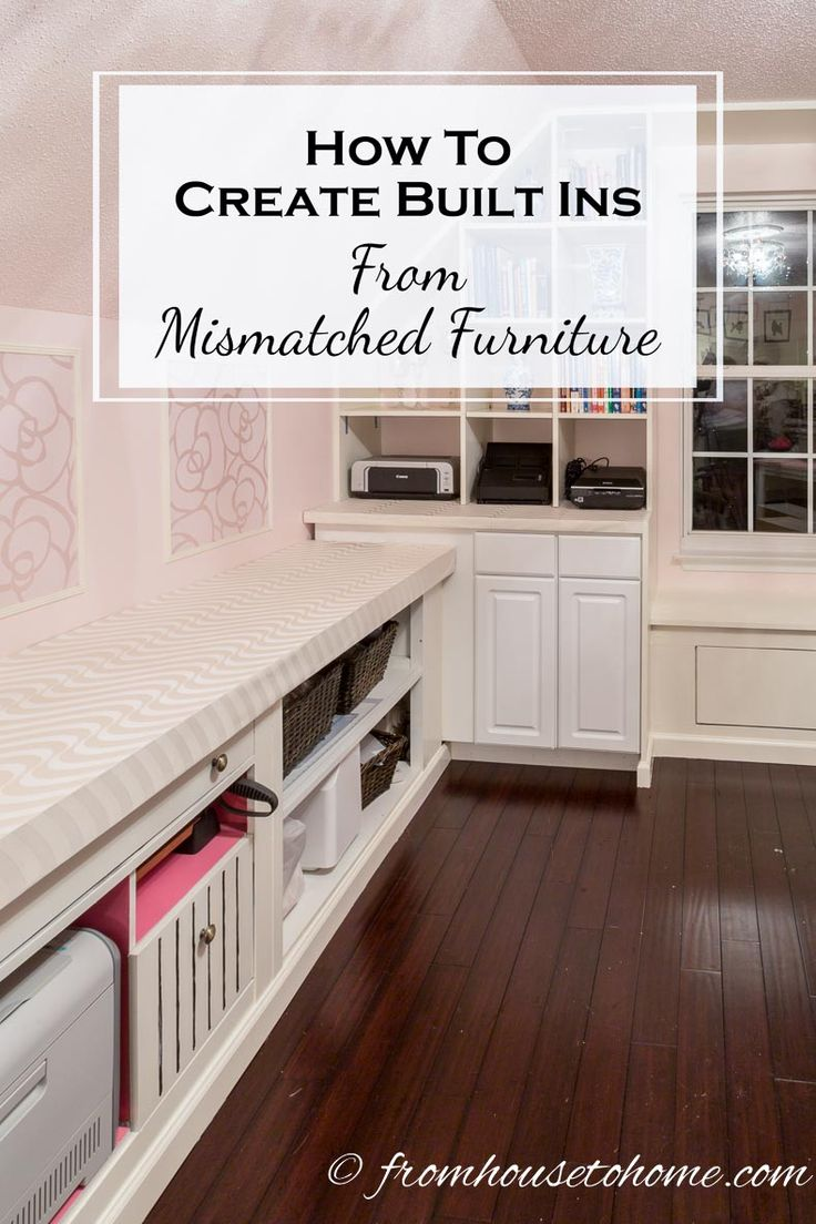 How To Create Built Ins From Mismatched Furniture | Have some old filing cabinets or other furniture that you want to update? Give them new life by learning how to create built ins from mismatched furniture.