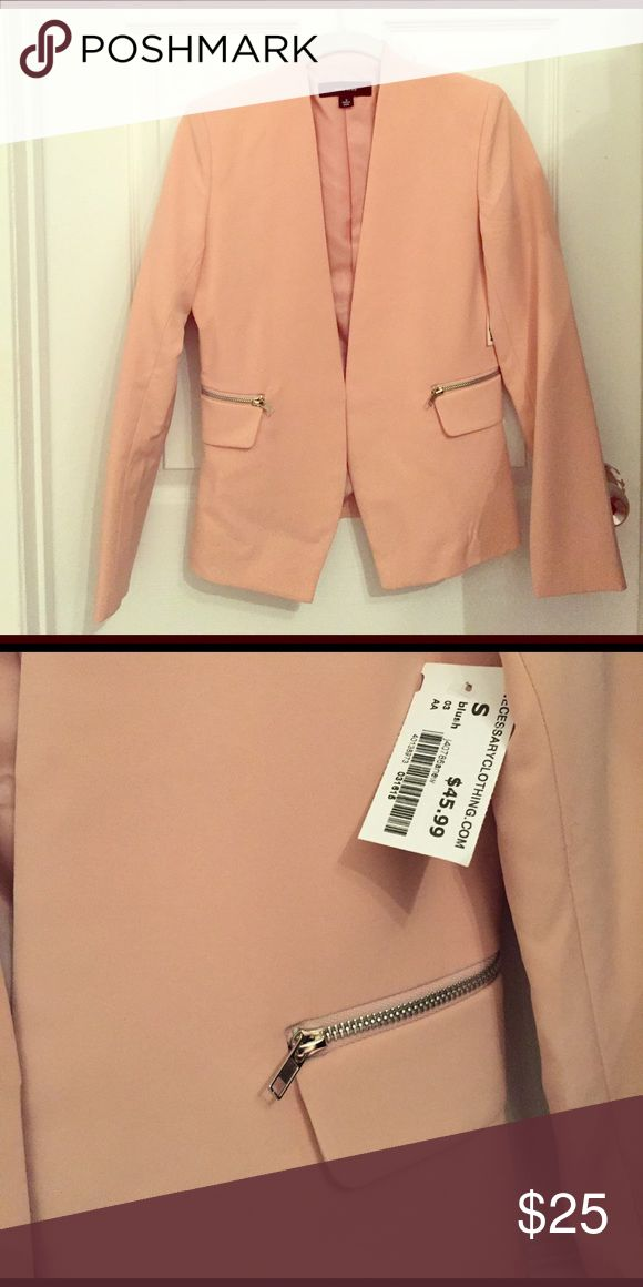 Brand New Peach Blazer Blazer with two zippered pockets. Never been worn and new with tags. Can be styled with a dress or jeans. Miss Love Jackets & Coats Blazers