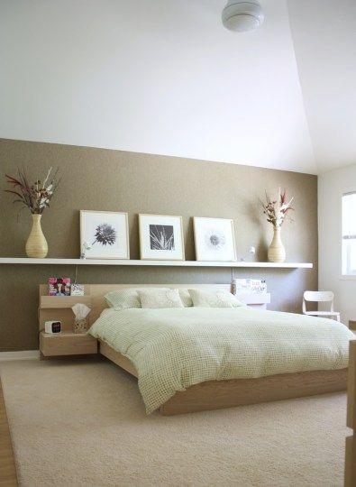 Astounding Bedroom Design Ideas With Floating Wooden Shelves Over  Unfinished Cherry Wood Platform Bed On Cream Rug Of Best IKEA Bedroom  Furniture Design ...