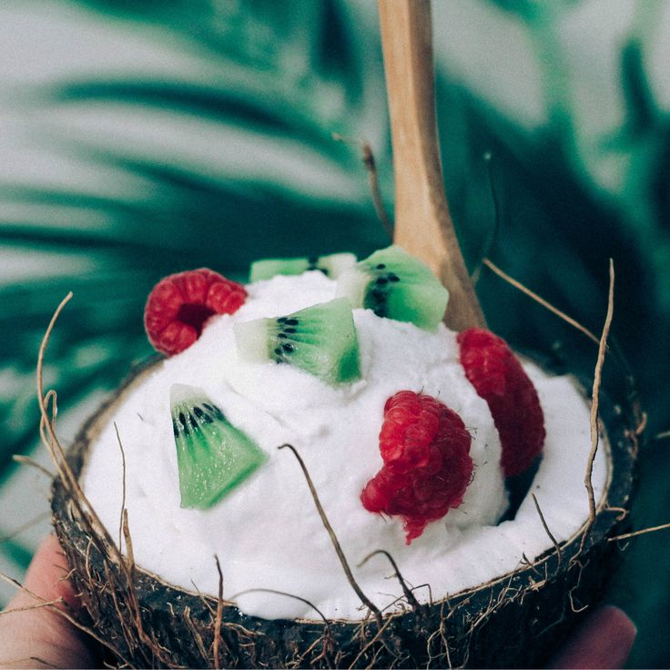 homemoconut sorbet bowl  I blended frozen thick coconut cream  coconut water  organic coconut palm  young coconut meat and finished it off with coconut