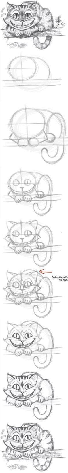 Wie man einfach die Katze von Alice im Wunderland malt✏️ #zeichnen#alice#wonderland