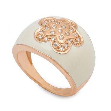 Μοντέρνο δαχτυλίδι ροζ χρυσό Κ18 μπουλ πομπέ με άσπρο σμάλτο και λουλούδι από ζιργκόν στο κέντρο | Κοσμήματα ΤΣΑΛΔΑΡΗΣ στο Χαλάνδρι & στο e-shop  #μπουλ #λουλουδι #ζιργκον #χρυσο #δαχτυλίδι