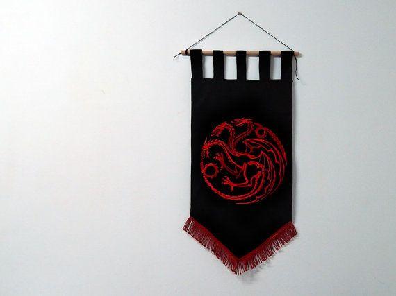 Game of thrones flag curtain house TARGARYEN home decor fire and blood gift photo banner Daenerys Targaryen dragon Khaleesi