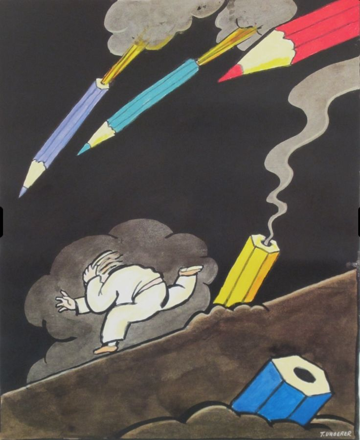 A beautifully surreal, thought-provoking view - Pencil Attack by Tomi Ungerer