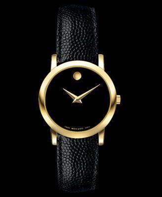 Movado Watch, Women's Swiss Black Leather Strap 24mm 0606088