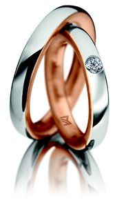 Meister rose and White gold wedding ring. Brilliant-cut Diamond ring